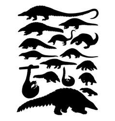 pangolin animal silhouettes vector image