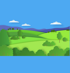 Paper cut landscape nature cartoon scene with vector