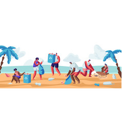 people collecting trash bags on beach pollution vector image