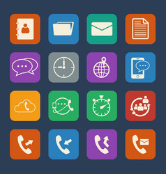 Phone and telecommunication icons set flat design vector