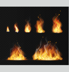 realistic flame hot fireball warm furnace fire vector image
