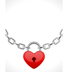 Red shiny heart lock on chain vector