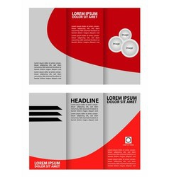 Red tri-fold business brochure template design vector