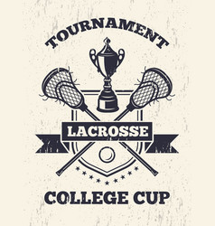 retro poster of lacrosse theme in sport college vector image