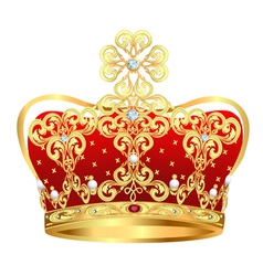 Royal gold crown with jewels and ornament vector