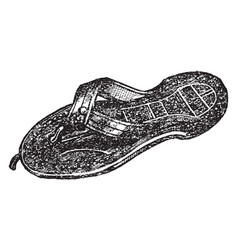 Sandals daily life vintage engraving vector