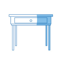 School desk wooden table office furniture vector