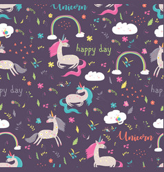 seamless pattern rainbow with unicorn vector image