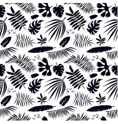 seamless pattern with tropical plant leaf vector image