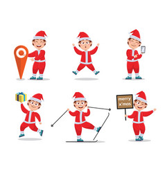 set characters for christmas in cartoon style vector image