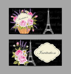 set horizontal banners with eiffel tower and vector image