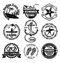 Set of summer travel labels with surfing canoe vector