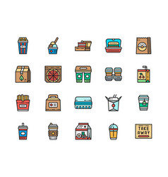 set takeaway color line icons popcorn lunch vector image