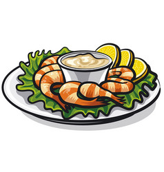 Shrimps cocktail with sauce vector