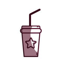 Silhouette soda beverage in the cinema movie scene vector