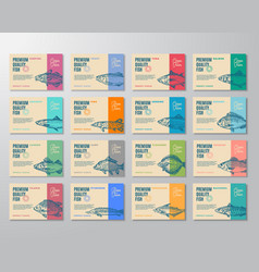 Sixteen premium quality fish labels set abstract vector
