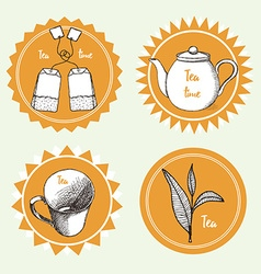 Sketch tea labels vector image