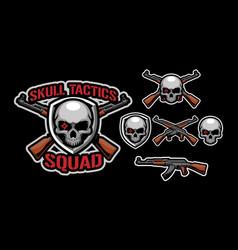 skull tactics mascot logo design vector image