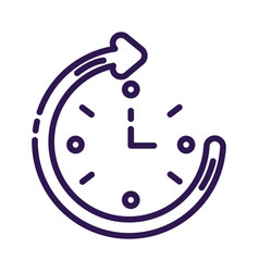 Time clock with arrow around line style icon vector