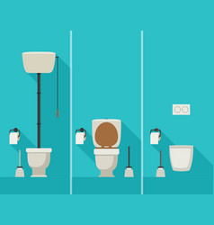 toilets in flat style vector image