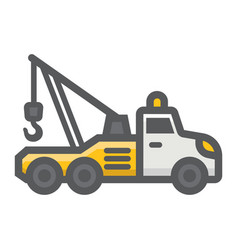 Tow truck filled outline icon transport vehicle vector