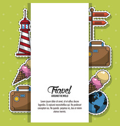 Travel around the world frame vector