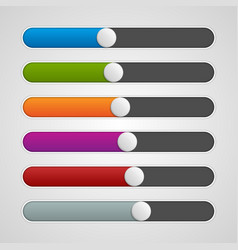 UI sliders colors set Volume controls Interface vector