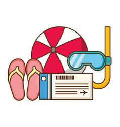 Vacations ball sandals snorkel tickets vector
