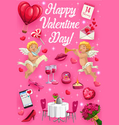 valentines day symbols lovely cupids gifts vector image