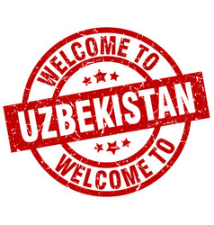 Welcome to uzbekistan red stamp vector