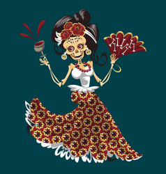 woman skeleton at day of the dead party poster vector image