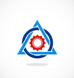 work gear triangle abstract logo vector image