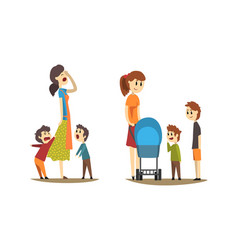 Young mothers walking with little kids set tired vector
