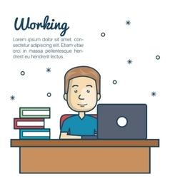 cartoon man working laptop workplace vector image