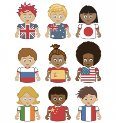 children flag icons vector image vector image