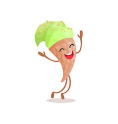 cute funny green ice cream cartoon character vector image