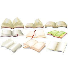 Different design of books and notebooks vector image