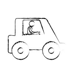 sketch man worker drive truck vector image vector image