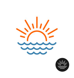 sun rays and sea waves logo vector image vector image
