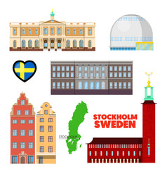 sweden stockholm travel set with architecture vector image vector image