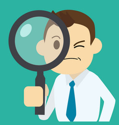 businessman finding job with magnifier vector image vector image