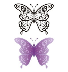 Butterflies outline and lilac vector image