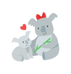 Koala Mom With Red Bow Animal Parent And Its Baby vector image
