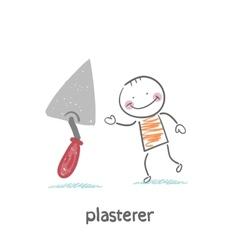 Plasterer with shovel tool vector