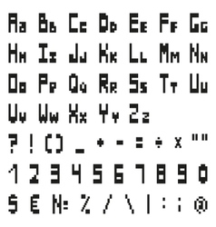 simple black pixel alphabet and symbols vector image