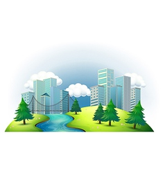Tall buildings in an island with a river and pine vector image