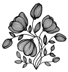 abstract black-and-white flower of the lines vector image vector image
