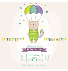 Baby Shower or Arrival Card - Baby Cat Flying vector image
