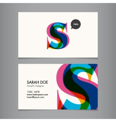 Business card template letter S vector image vector image