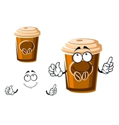 Cartoon takeaway coffee cup with lid vector image